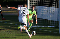 RICHMOND, VA - SEPTEMBER 30: Manny Perez #2 of North Carolina FC scores a goal past Luca Lewis #50 of New York Red Bulls II during a game between North Carolina FC and New York Red Bulls II at City Stadium on September 30, 2020 in Richmond, Virginia.