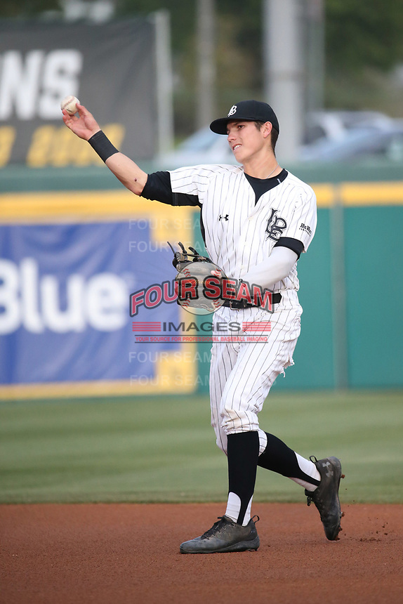 Jarren Duran (4) of the Long Beach State Dirtbags in the field during a game against the TCU Horned Toads at Blair Field on March 14, 2017 in Long Beach, California. Long Beach defeated TCU, 7-0. (Larry Goren/Four Seam Images)