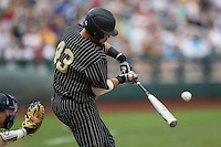 Vanderbilt Commodores first baseman Zander Wiel (43) swings the bat during the NCAA College baseball World Series against the Cal State Fullerton Titans on June 14, 2015 at TD Ameritrade Park in Omaha, Nebraska. The Titans were leading 3-0 in the bottom of the sixth inning when the game was suspended by rain. (Andrew Woolley/Four Seam Images)