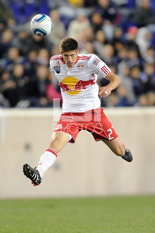 Andrew Boyens (27) of the New York Red Bulls heads the ball back to the goalkeeper. The New York Red Bulls defeated the Philadelphia Union 2-1 during a US Open Cup qualifier at Red Bull Arena in Harrison, NJ, on April 27, 2010.