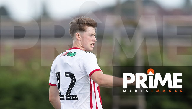 Stephen Mallon of Sheffield United during the Professonal Development League match between Watford U23 and Sheffield United U23 at The Maurice Rebak Stadium, Summers Lane, England on 17 August 2018. Photo by Andy Rowland.