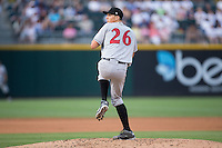 Indianapolis Indians starting pitcher Tyler Glasnow (26) in action against the Charlotte Knights at BB&T BallPark on June 17, 2016 in Charlotte, North Carolina.  The Knights defeated the Indians 4-0.  (Brian Westerholt/Four Seam Images)
