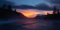 The Madison River often provides moody and beautiful sunrise landscape photo ops in winter.