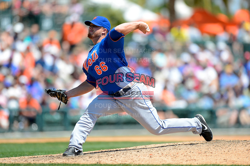 New York Mets pitcher Josh Edgin #66 during a Spring Training game against the Baltimore Orioles at Ed Smith Stadium on March 30, 2013 in Sarasota, Florida.  (Mike Janes/Four Seam Images)