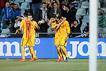 Barcelona´s Luis Suarez celebrates a goal with Neymar Jr during 2015-16 La Liga match between Getafe and Barcelona FC at Coliseum Alfonso Perez stadium in Madrid, Spain. October 31, 2015. (ALTERPHOTOS/Victor Blanco)