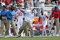 Ole Miss head coach Lane Kiffin reacts, Saturday, October 17, 2020 during the first quarter of a football game at Donald W. Reynolds Razorback Stadium in Fayetteville. Check out nwaonline.com/201018Daily/ for today's photo gallery. <br /> (NWA Democrat-Gazette/Charlie Kaijo)