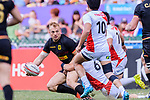 Sebastian Fromm of Germany (L) passes the ball during the HSBC World Rugby Sevens Series Qualifier Final match between Germany and Japan as part of the HSBC Hong Kong Sevens 2018 on 08 April 2018 in Hong Kong, Hong Kong. Photo by Marcio Rodrigo Machado / Power Sport Images