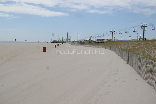 SEASIDE HEIGHTS, NJ - MAY 15: View of Seaside Heights Boardwalk after Governor Murphy gives the ok for some beaches to reopen since the coronavirus pandemic began. Seaside Heights, New Jersey on May 15, 2020. Credit: John Barrett/PHOTOlink/MediaPunch