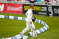 27th May 2021; Emirates Old Trafford, Manchester, Lancashire, England; County Championship Cricket, Lancashire versus Yorkshire, Day 1; Harry Dukeof Yorkshire walks back to the dressing room after being dismissed by Tom Bailey of Lancashire for 52