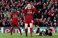Liverpool's Andrew Robertson's reacts after his headed effort hit the crossbar<br /> <br /> Photographer Rich Linley/CameraSport<br /> <br /> UEFA Champions League Round of 16 Second Leg - Liverpool v Atletico Madrid - Wednesday 11th March 2020 - Anfield - Liverpool<br />  <br /> World Copyright © 2020 CameraSport. All rights reserved. 43 Linden Ave. Countesthorpe. Leicester. England. LE8 5PG - Tel: +44 (0) 116 277 4147 - admin@camerasport.com - www.camerasport.com