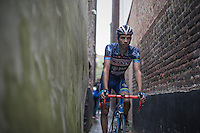 Simone Antonini (ITA/Wanty - Groupe Gobert) returning to the team bus through a small alley behind the finish zone after the race<br /> <br /> 12th Eneco Tour 2016 (UCI World Tour)<br /> Stage 7: Bornem › Geraardsbergen (198km)