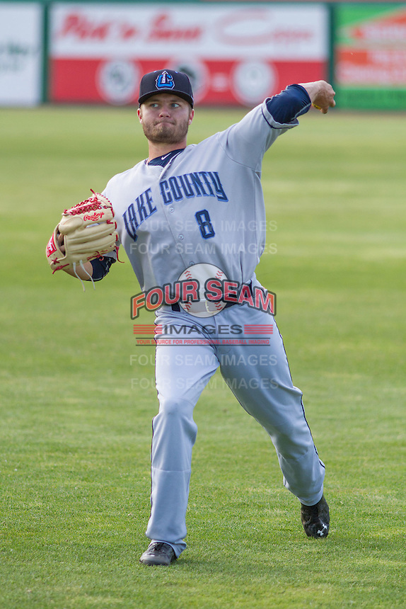 Lake County Captains pitcher Sean Brady (8) warms up prior to a Midwest League game against the Wisconsin Timber Rattlers on June 3rd, 2015 at Fox Cities Stadium in Appleton, Wisconsin. Wisconsin defeated Lake County 3-2. (Brad Krause/Four Seam Images)