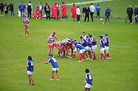 A scrum packs down during the Wellington Club Rugby Swindale Shield match between  Western Suburbs Roosters and Hutt Old Boys Marist at Ian Galloway Park, Wellington, New Zealand, on Saturday, 13 April 2013. Photo: Dave Lintott / lintottphoto.co.nz