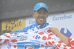 Anthony Charteau (FRA) Bbox Bouygues Telecom retains the mountains Polka Dot Jersey at the end of Stage 17 of the 2010 Tour de France running 174km from Pau to Col du Tourmalet, France. 22nd July 2010.<br /> (Photo by Eoin Clarke/NEWSFILE).<br /> All photos usage must carry mandatory copyright credit (© NEWSFILE | Eoin Clarke)