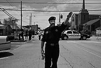 """Russelville, AL, USA , May 9th 2009.Lawrence Grant, """"Imperial Khaliff"""", arrives at the rally location; he is the designated successor of Ray Larsen, """"International Imperial Wizard"""". A Ku Klux Klan rally in front of Russellville's  courthouse in northern Alabama, very few inhabitants attend. Since President Obama was elected on Nov. 4th, 2008, the Ku Klux Klan has seen new memberships applications being multiplied by 6 compared to the previous year!"""
