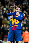 Jordi Alba Ramos of FC Barcelona celebrates with teammate Lionel Andres Messi during the Copa Del Rey 2017-18 Round of 16 (2nd leg) match between FC Barcelona and RC Celta de Vigo at Camp Nou on 11 January 2018 in Barcelona, Spain. Photo by Vicens Gimenez / Power Sport Images