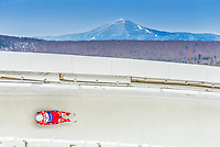 5 December 2014: Kevin Fischnaller, sliding for Italy, slides through Curve Number 14 on his first run, ending the day with a 18th place finish and a combined 2-run time of 1:44.089 in the Men's Competition at the Viessmann Luge World Cup, at the Olympic Sports Track in Lake Placid, New York, USA. Mandatory Credit: Ed Wolfstein Photo *** RAW (NEF) Image File Available ***