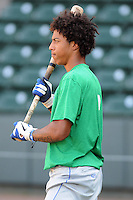 Shortstop Raul Adalberto Mondesi (2) of the Lexington Legends before a game against the Greenville Drive on Monday, July 22, 2013, at Fluor Field at the West End in Greenville, South Carolina. Mondesi is the No. 5 prospect of the Kansas City Royals. Lexington won, 7-3. (Tom Priddy/Four Seam Images)