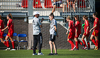 Assistant coach Luc Bosmans of Belgium and Head coach Audrey Demoustier of Belgium having a conversation during the warm up before an international friendly female soccer game between the national teams of Belgium , called the Red Flames U17 and the Netherlands on Wednesday 8th of September 2020  in Kalmthout , Belgium . PHOTO SPORTPIX.BE | SPP | SEVIL OKTEM