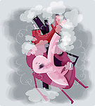 Human heart smoking cigarette depicting addiction
