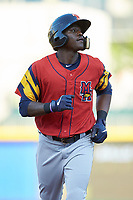 Daz Cameron (10) of the Toledo Mud Hens jogs off the field during the game against the catcher at BB&T BallPark on April 23, 2019 in Charlotte, North Carolina. The Knights defeated the Mud Hens 11-9 in 10 innings. (Brian Westerholt/Four Seam Images)