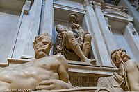 Italy, Florence San Lorenzo, Medici Chapel, Lorenzo and Giovanni Medici tomb, Michelangelo statue