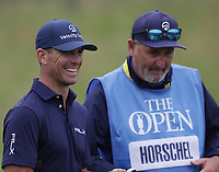 12th July 2021; The Royal St. George's Golf Club, Sandwich, Kent, England; The 149th Open Golf Championship, practice day; Billy Horschel (USA) shares a joke with his caddie on the 18th hole