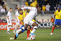 Jozy Altidore (17) of the United States (USA) and Mario Yepes (3) of Colombia (COL) battle for the ball. The men's national teams of the United States (USA) and Colombia (COL) played to a 0-0 tie during an international friendly at PPL Park in Chester, PA, on October 12, 2010.