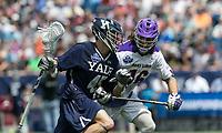 Foxborough, Massachusetts - May 26, 2018: NCAA Division I tournament semifinal. Yale University (blue) defeated University at Albany (State University of New York) (white), 20-11, at Gillette Stadium.
