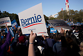 Queens, New York<br /> Queensbridge Park<br /> October 19, 2019<br /> <br /> Senator Bernie Sanders supporters at his first major campaign rally since suffering from a heart attack earlier this month in Queensbridge Park. <br /> <br /> Congresswoman New York Rep. Alexandria Ocasio-Cortez endorses Sanders for US President at the rally.<br /> <br /> An estimated 26,000 people attended the event according to the Sanders campaign.