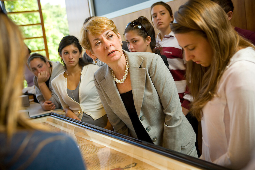 Lafayette College Rothkoph Professor of Art History Diane Ahl holds a class in the Gendebien Room of the Skillman LIbrary where they explore some of the relics from the Lafayette Archive Collection...4319..Class Room