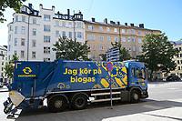 SWEDEN, Stockholm, truck of urban waste management powered with Biogas fuel / SCHWEDEN, Stockholm, LKW der Müllabfuhr mit Biogas Antrieb