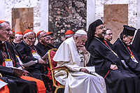 Pope Francis ponders during a liturgical prayer within the third day of a landmark Vatican summit on tackling paedophilia in the clergy, on February 23, 2019 hall Regia apostolic palace at the Vatican.