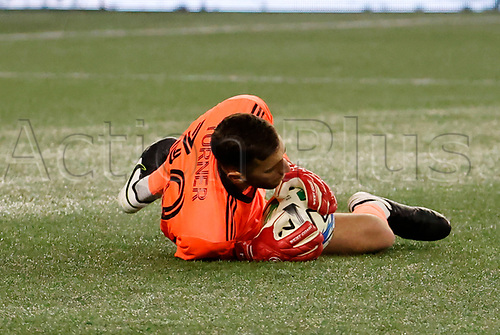 20th November 2020; Foxborough, MA, USA;  New England Revolution goalkeeper Matt Turner makes a save during the MLS Cup Play-In game between the New England Revolution and the Montreal Impact