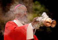Archbishop of Atlanta, Wilton Daniel Gregory uses incense while celebrating mass at Belmont Abbey  in Belmont, NC.