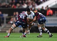 1st October 2021;  Ashton Gate Stadium, Bristol, South Gloucestershire, England; Gallagher Premier League rugby, Bristol Bears versus Bath Rugby: Jake Heenan and Ed Holmes of Bristol Bears tackle Will Muir of Bath