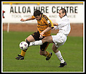 13/04/2002                 Copyright Pic : James Stewart .Ref :     .File Name : stewart-alloa v berwick 08.ALLOA'S GARETH HUTCHISON TRIES TO GET PAST DAVID MURIE......James Stewart Photo Agency, 19 Carronlea Drive, Falkirk. FK2 8DN      Vat Reg No. 607 6932 25.Office     : +44 (0)1324 570906     .Mobile  : +44 (0)7721 416997.Fax         :  +44 (0)1324 570906.E-mail  :  jim@jspa.co.uk.If you require further information then contact Jim Stewart on any of the numbers above.........
