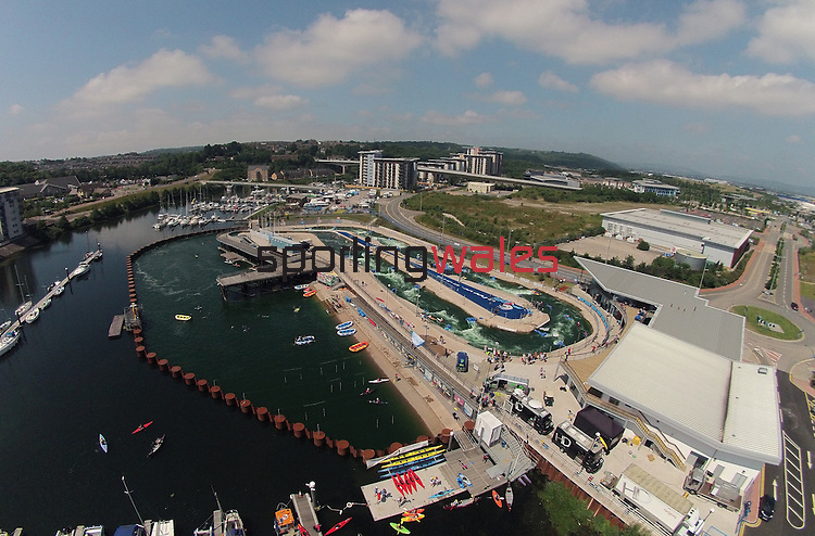 Aerial view of Cardiff International White Water Centre in Cardiff Bay.<br /> 06.07.13<br /> ©Steve Pope-SPORTINGWALES