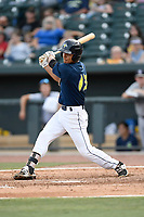 Shortstop Andres Gimenez (13) of the Columbia Fireflies bats in a game against the Rome Braves on Sunday, July 2, 2017, at Spirit Communications Park in Columbia, South Carolina. Columbia won, 3-2. (Tom Priddy/Four Seam Images)