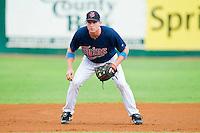 Elizabethton Twins third baseman Travis Harrison #17 on defense against the Bluefield Blue Jays at Joe O'Brien Field on July 14, 2012 in Elizabethton, Tennessee.  The Twins defeated the Blue Jays 4-0.  (Brian Westerholt/Four Seam Images)