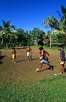 Children playing soccer in Heapiti, Tahiti, French Polynesia