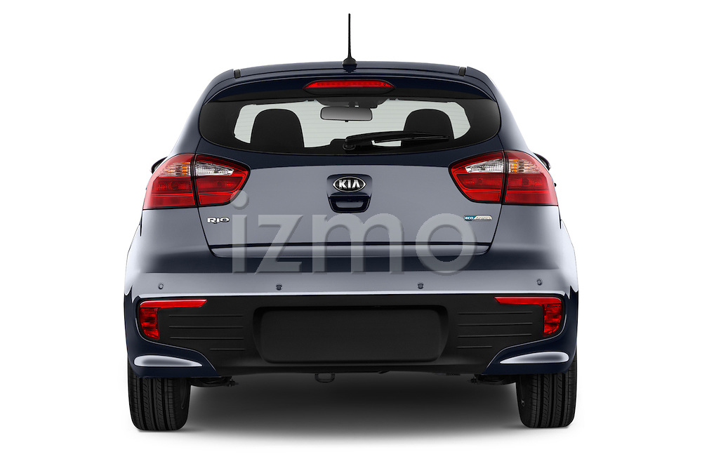 Straight rear view of2015 KIA Rio World Edition 5 Door Hatchback Rear View  stock images
