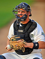 3 September 2008: Vermont Lake Monsters catcher Derek Norris warms up his pitcher prior to a game against the Tri-City Valley Cats at Centennial Field in Burlington, Vermont. The Lake Monsters defeated the Valley Cats 6-5 in extra innings. Mandatory Photo Credit: Ed Wolfstein Photo