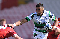 24th April 2021; Kingsholm Stadium, Gloucester, Gloucestershire, England; English Premiership Rugby, Gloucester versus Newcastle Falcons; Luther Burrell of Newcastle Falcons hands off Jack Singleton of Gloucester