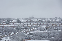 View of snow covered houses<br /> Weather - the Snowfall in Wycombe at Adams Park, High Wycombe, England on 10 December 2017. Photo by Andy Rowland.