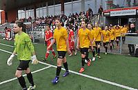 Lierse U16 - Standard de Liege U16 : de 2 teams betreden het speelveld.foto DAVID CATRY / Nikonpro.be
