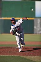 Kumar Nambiar (37) of the Stockton Ports pitches against the Inland Empire 66ers at San Manuel Stadium on June 27 2021 in San Bernardino, California. (Larry Goren/Four Seam Images)