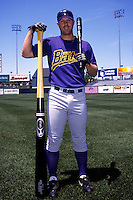 Louisville River Bats outfielder Adam Dunn poses for a photo prior to a game versus the Pawtucket Red Sox at McCoy Stadium in Pawtucket, Rhode Island during the 2001 season.  (Ken Babbitt/Four Seam Images)
