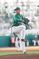 Greensboro Grasshoppers starting pitcher Jarlin Garcia (33) in action against the Hagerstown Suns at NewBridge Bank Park on June 21, 2014 in Greensboro, North Carolina.  The Grasshoppers defeated the Suns 8-4. (Brian Westerholt/Four Seam Images)