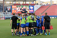 Frisco, TX - Sunday September 03, 2017: Seattle Reign FC huddle   prior to a regular season National Women's Soccer League (NWSL) match between the Houston Dash and the Seattle Reign FC at Toyota Stadium in Frisco Texas. The match was moved to Toyota Stadium in Frisco Texas due to Hurricane Harvey hitting Houston Texas.